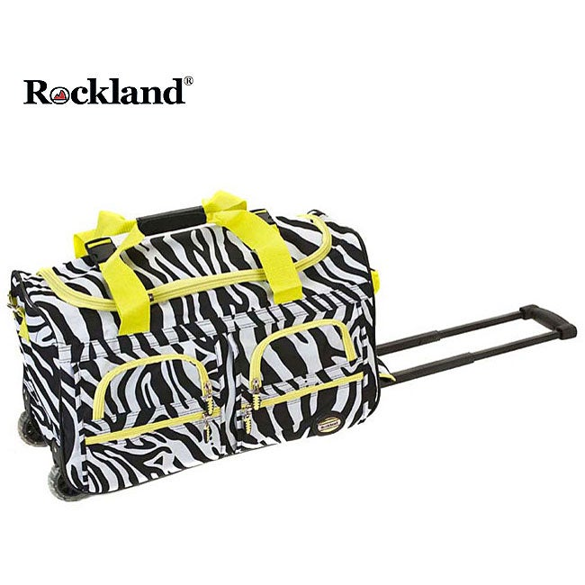 Rockland Deluxe Lime Zebra 22-inch Carry On Rolling Upright Duffel Bag