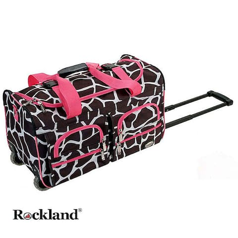 Rockland Deluxe Pink Giraffe 22-inch Carry On Rolling Upright Duffel Bag