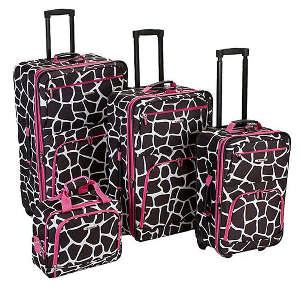 Rockland Deluxe Pink Giraffe 4-piece Expandable Luggage Set