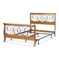 Dunhill Complete Bed with Wood Sleigh Style Frame and Autumn Brown Metal Swirling Scrolls