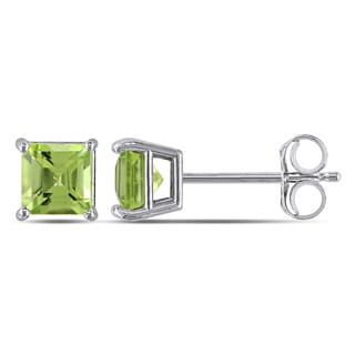 Miadora 14k White Gold Square Peridot Stud Earrings