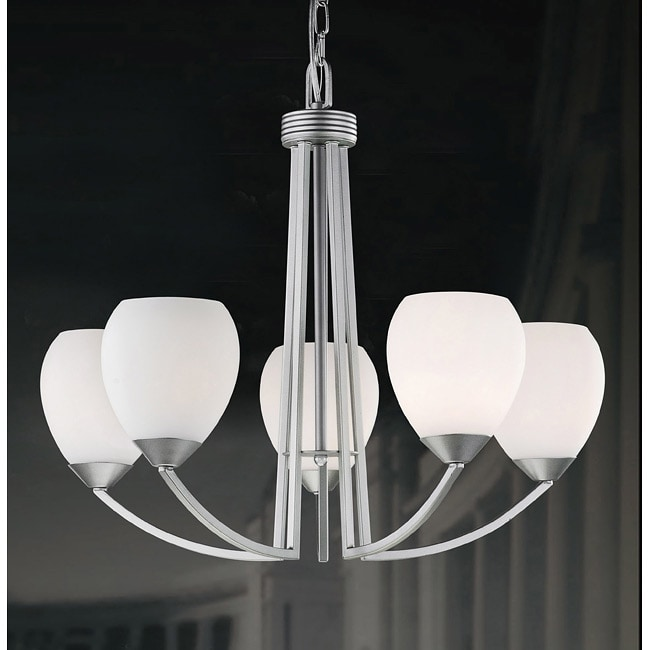 Spray-painted Satin Nickel Contemporary 5-light Chandelier