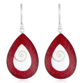 Handmade Sterling Silver Red Coral and Shiva Shell Earrings (Indonesia)