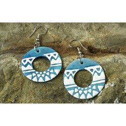 Handmade Blue Capiz Shell Earrings (Philippines)