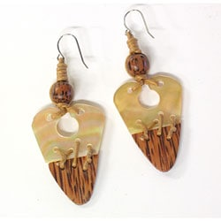 Handmade Gold Lip Wood-tipped Shell Earrings (Philippines)