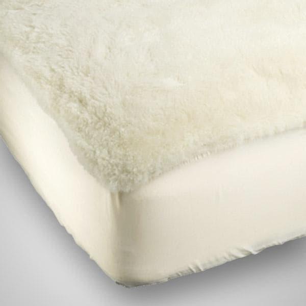 Twin-Sized Lambswool Mattress Pad - White