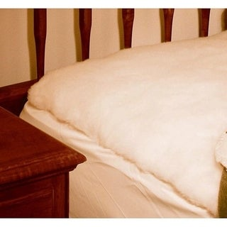 Denali Supreme Fitted King Size Wool Mattress Pad - White