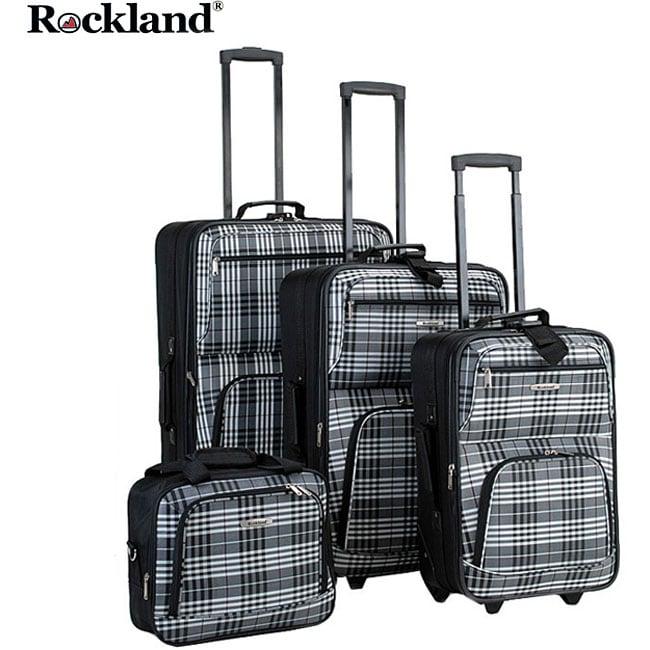 Rockland Black Cross 4-piece Expandable Luggage Set