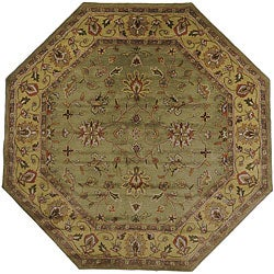 Hand-tufted Camelot Green Wool Rug (8' Octagon)