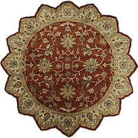 Hand-tufted Camelot Red Wool Area Rug (8' Round)