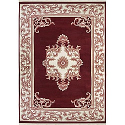 Hand-knotted Ganesh Burgundy Wool Rug (9' x 13')