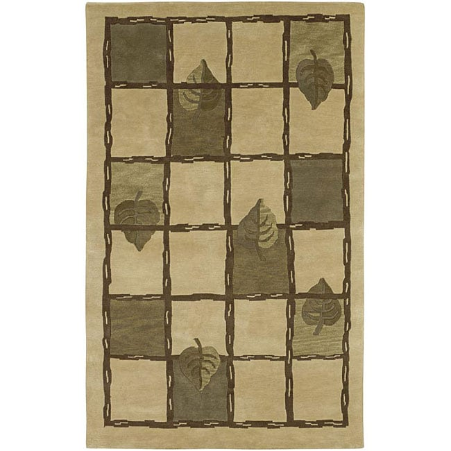 Hand-knotted Beige Contemporary Karur Collection Wool Floral Area Rug (8' x 11') - 8' x 11'