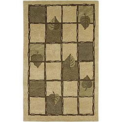 Hand-knotted Beige Contemporary Karur Collection Wool Floral Area Rug - 8' x 11' - Thumbnail 0