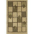 Hand-knotted Beige Contemporary Karur Collection Wool Floral Area Rug - 8' x 11'