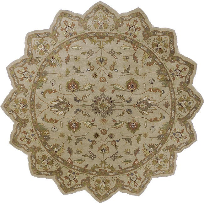 Hand-tufted Camelot Ivory Floral Border Wool Rug (8' Round)