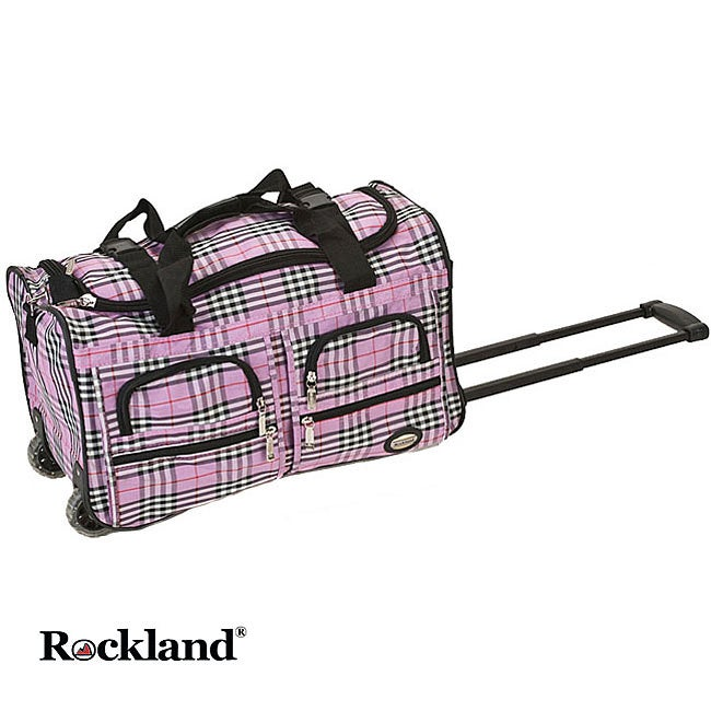 Rockland Pink Cross 22-inch Carry On Rolling Duffel Bag