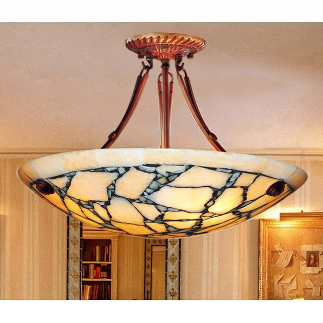 Alabaster Stone Shade 3-light Chandelier - Thumbnail 0