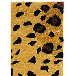 Safavieh Handmade Soho Leopard-print Gold/ Black N. Z. Wool Rug (2' x 3')