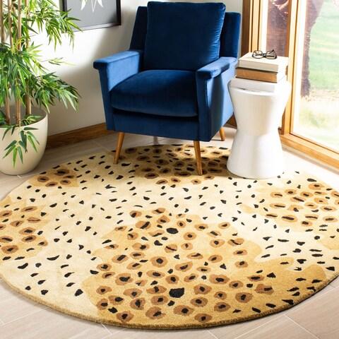 Safavieh Handmade Soho Leopard-print Gold/ Black N. Z. Wool Rug - 6' x 6' Round