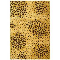 Safavieh Handmade Soho Leopard-print Gold/ Black N. Z. Wool Rug - 6' x 9'