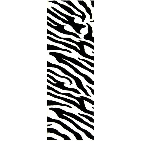 "Safavieh Handmade Zebra Wave White/ Black N. Z. Wool Runner (2'6 x 12') - 2'6"" x 12'"