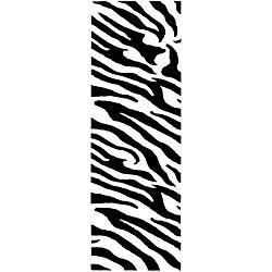 Safavieh Handmade Zebra Wave White/ Black N. Z. Wool Runner (2'6 x 12')