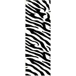 Safavieh Handmade Zebra Wave White/ Black N. Z. Wool Runner (2'6 x 14')
