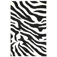 Safavieh Handmade Soho Zebra Wave Beige/ Black N. Z. Wool Rug - 3'6 x 5'6