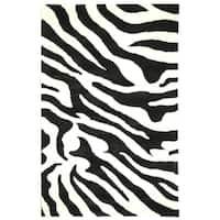 "Safavieh Handmade Soho Zebra Wave Beige/ Black N. Z. Wool Rug - 3'6"" x 5'6"""