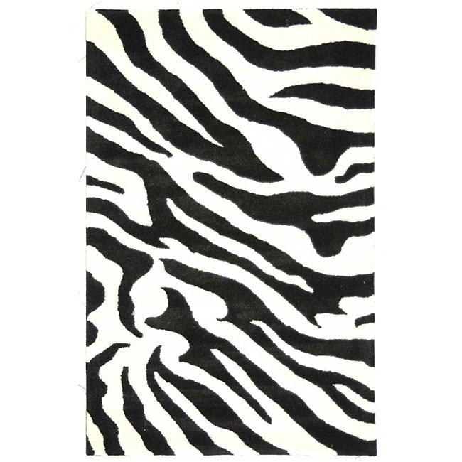 Safavieh Handmade Soho Zebra Wave White/ Black N. Z. Wool Rug (5' x 8')