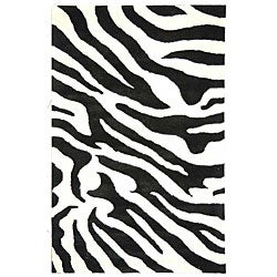 Safavieh Handmade Soho Zebra Wave White/ Black N. Z. Wool Rug (5' x 8')