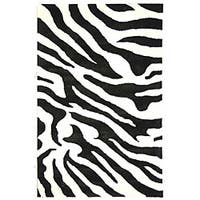 Safavieh Handmade Soho Zebra Wave White/ Black N. Z. Wool Rug - 5' x 8'