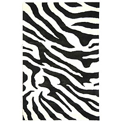 Safavieh Handmade Soho Zebra Wave White/ Black N. Z. Wool Rug (6' x 9')