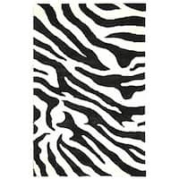 Safavieh Handmade Soho Zebra Wave White/ Black N. Z. Wool Rug - 6' x 9'