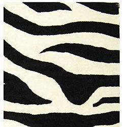 Safavieh Handmade Soho Zebra Wave White/ Black N. Z. Wool Rug (7'6 x 9'6) - Thumbnail 1