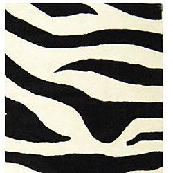 Safavieh Handmade Soho Zebra Wave White/ Black N. Z. Wool Rug (8'3 x 11')