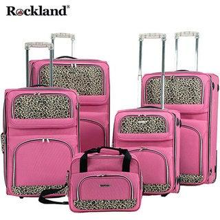 Rockland Leopard Print 5-piece Luggage Set