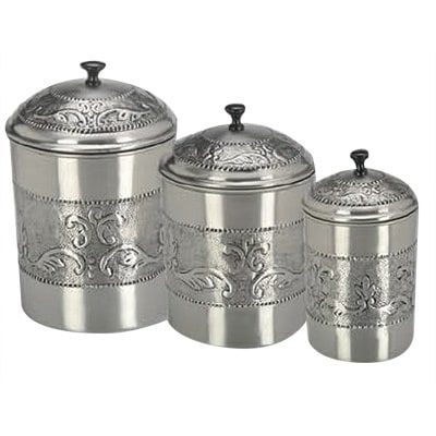Pewter Plated 3 Piece Embossed Steel Canister Set