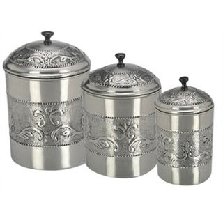 Link to Pewter-plated 3-piece Embossed Steel Canister Set Similar Items in Kitchen Storage