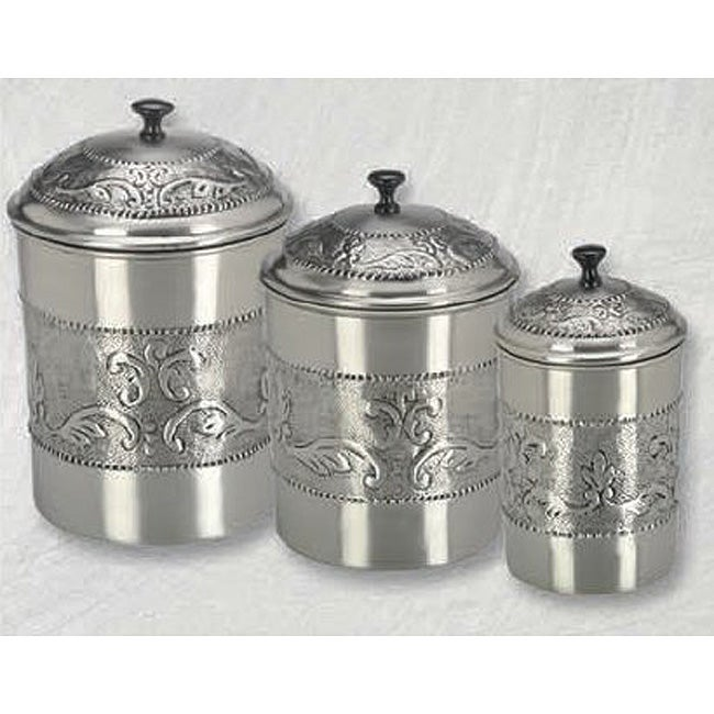pewter plated 3 piece embossed steel canister set free amazon com black contempo canisters set of 3 kitchen