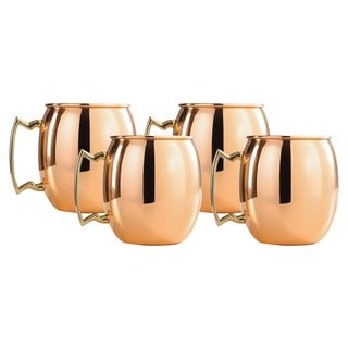 Copper 16-oz. Moscow Mule Mugs with Nickel Lining and Brass Handles - Set of 4