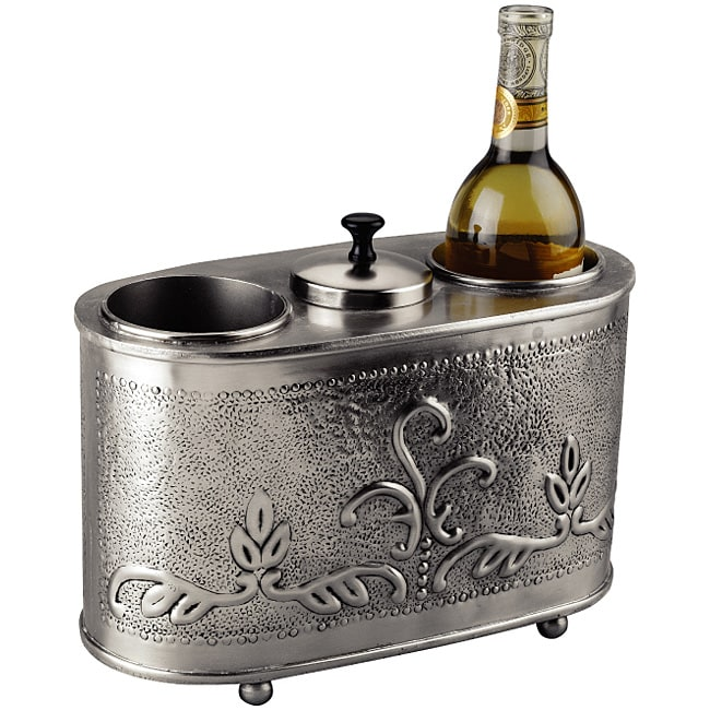 Antique Embossed Pewter 2 Bottle Wine Chiller Free