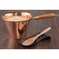 Solid Copper Polenta Pan with Wooden Handle
