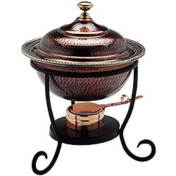 Round Antique Copper Chafing Dish