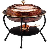 Old Dutch Oval Antique Copper Chafing Dish