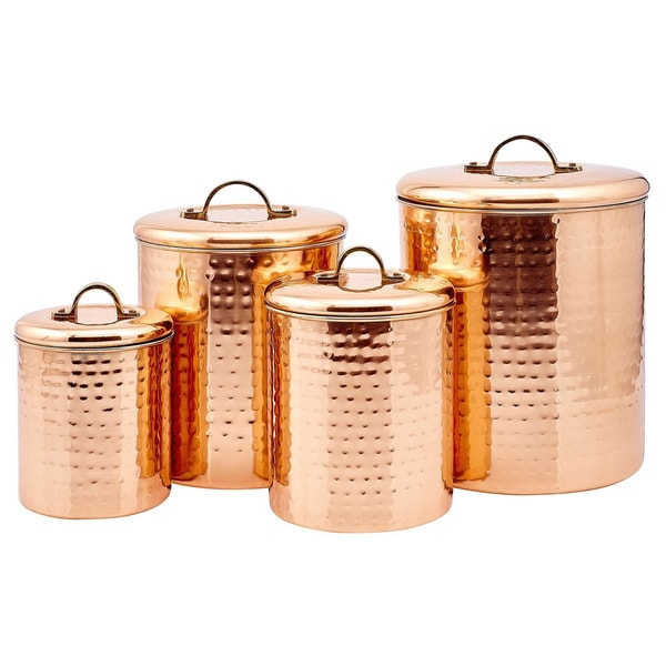 Hammered Copper 4-piece Canister Set
