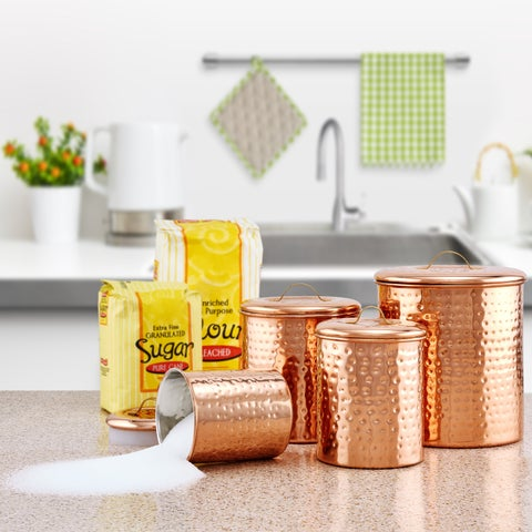 Old Dutch Hammered Copper 4-piece Canister Set