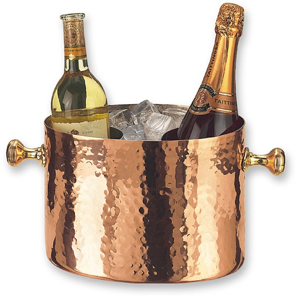 Hand-Hammered Copper Double Bottle Chiller with Aluminum Insert