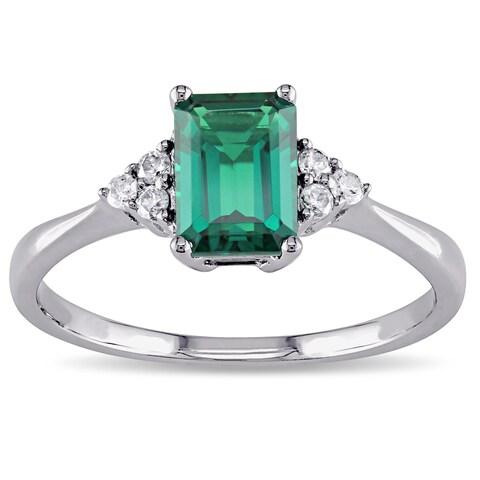 Miadora 10k White Gold Created Emerald and 1/10ct TDW Diamond Ring (I-J, I2-I3)