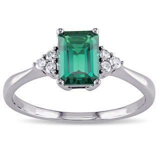 Miadora 10k White Gold Created Emerald and 1/10ct TDW Diamond Ring (I-J, I2-I3)